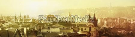 prague morning old town panorama sepia
