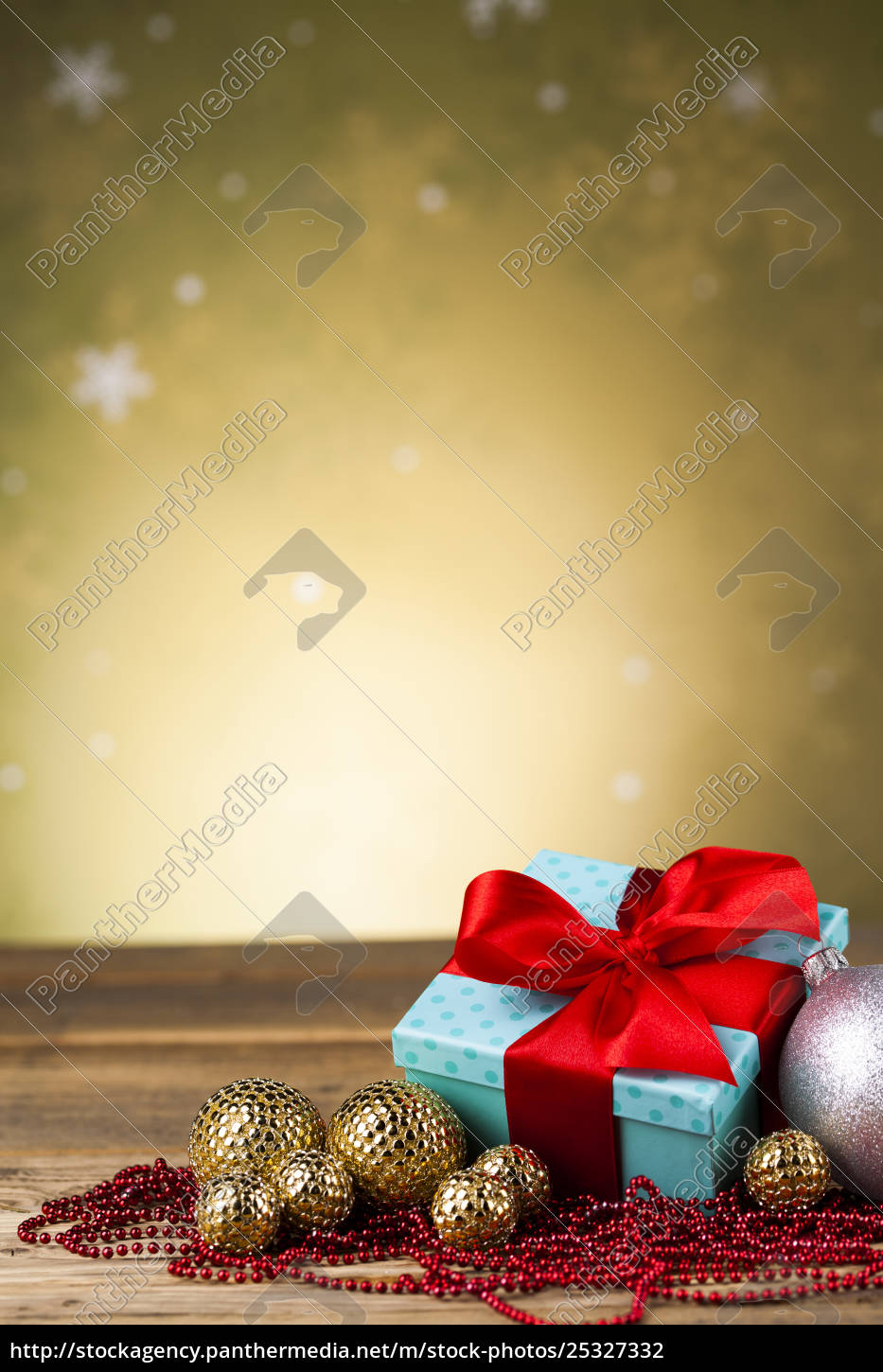 christmas, balls, , gift, box, with, red - 25327332