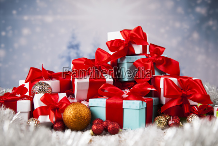 christmas, balls, , gift, box, with, red - 25327340