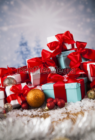 christmas, balls, , gift, box, with, red - 25327550