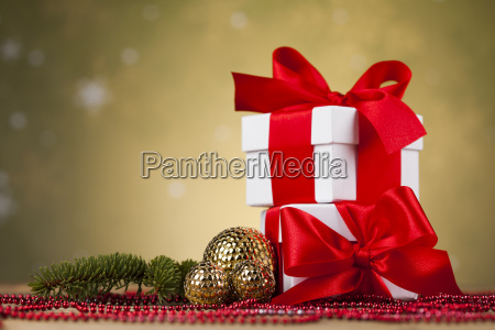christmas, balls, , gift, box, with, red - 25327796