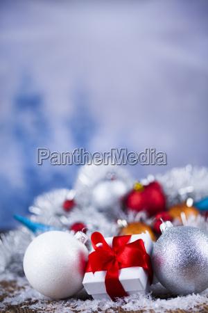 christmas, gift, box, and, balls, on - 25327558
