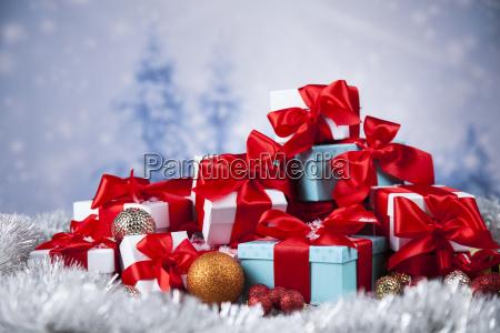 christmas, gift, box, and, balls, on - 25327794