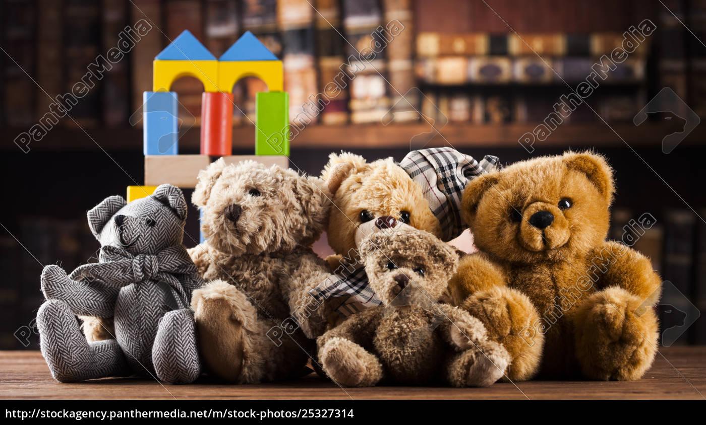 group, of, cute, teddy, bears, on - 25327314