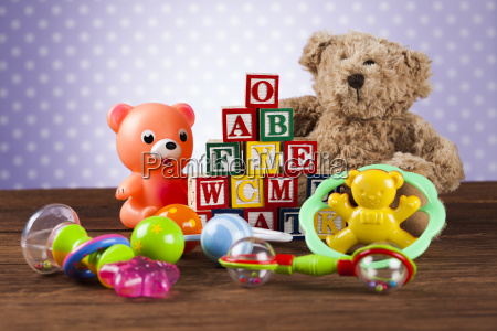 pile, of, toys, , collection, on, wooden - 25327362