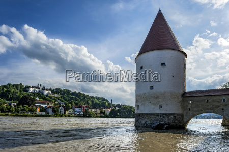 medieval schaiblingsturm flooded waterfront by river