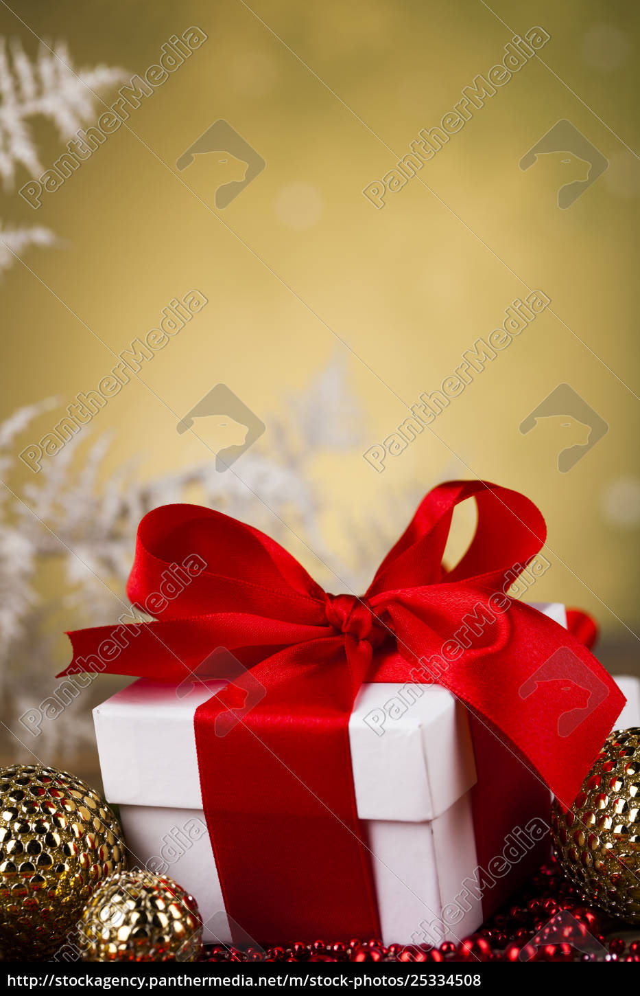 beautiful, gift, box, with, red, ribbon - 25334508