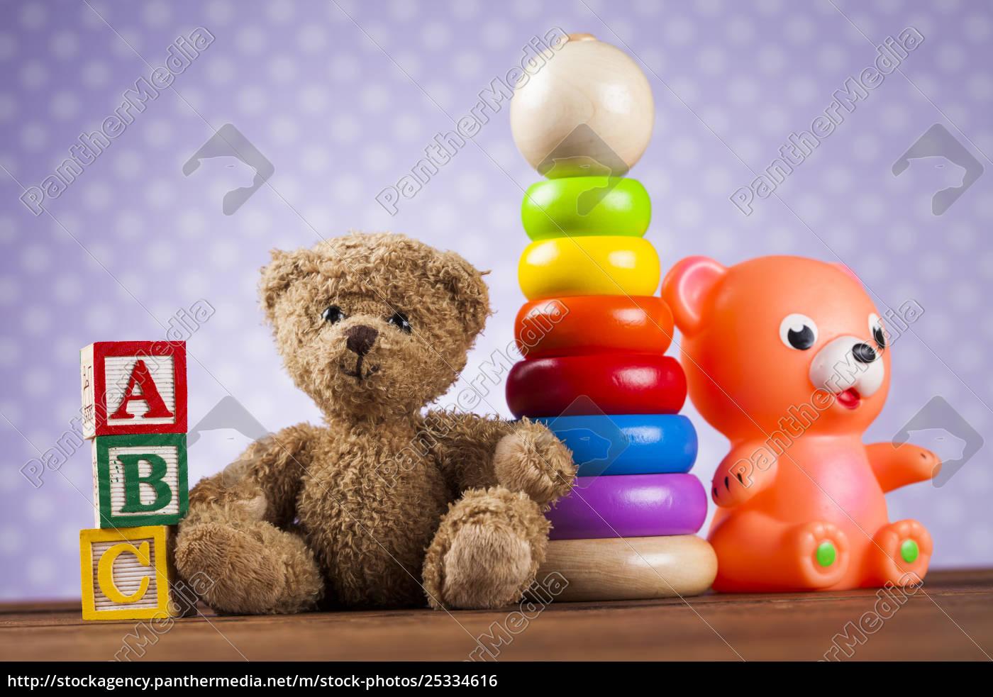 children's, of, toy, accessories, on, wooden - 25334616