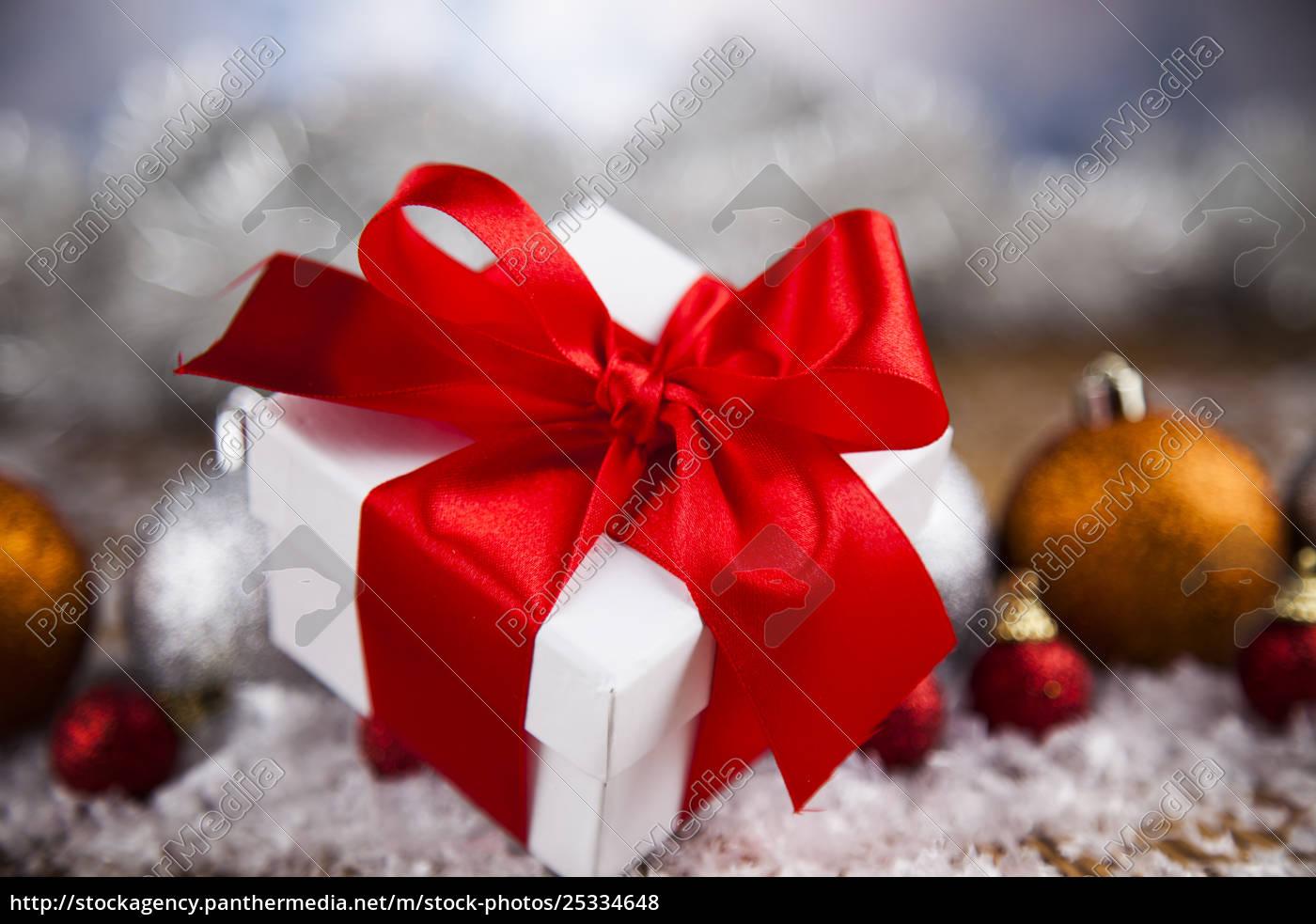 christmas, gift, box, and, balls, on - 25334648