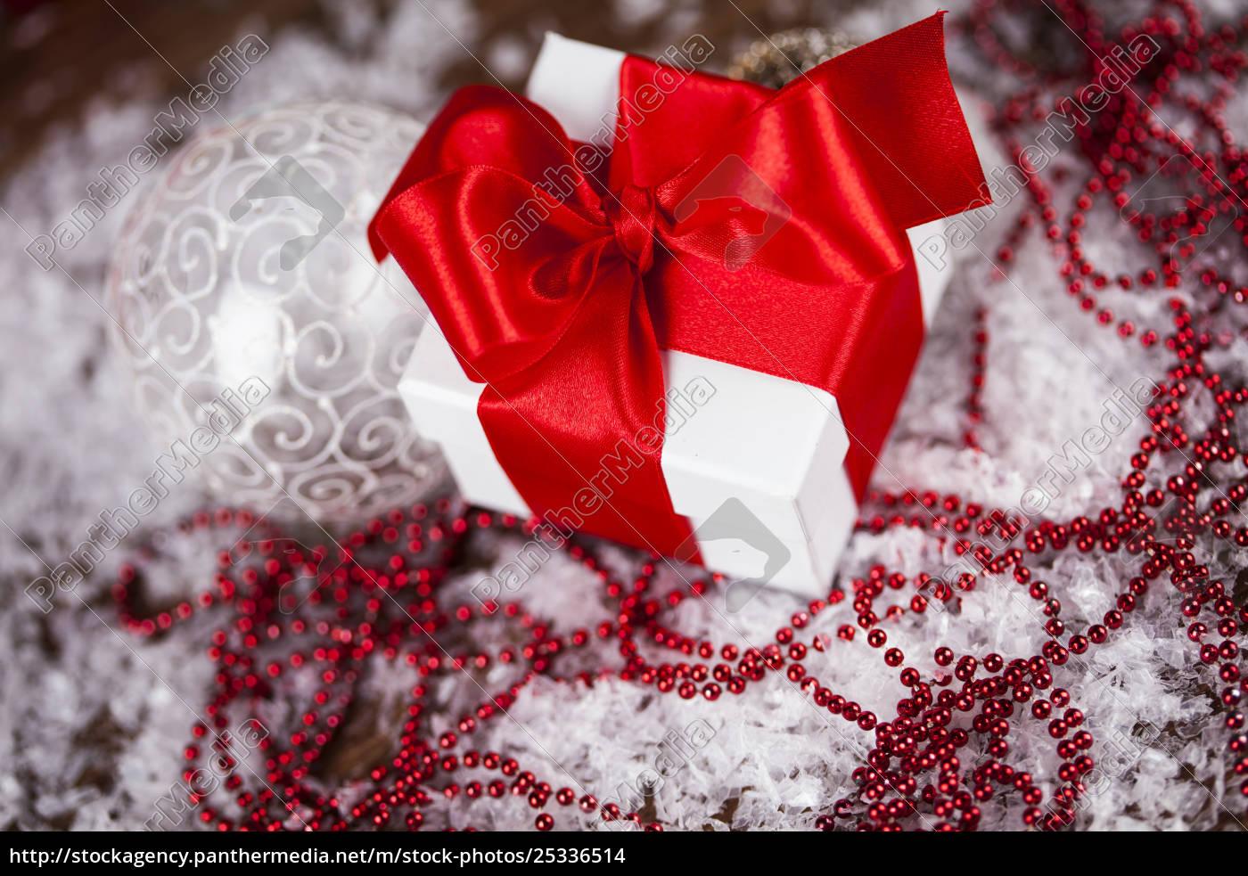 christmas, gift, box, and, balls, on - 25336514