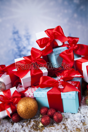 christmas, gift, box, and, balls, on - 25336518