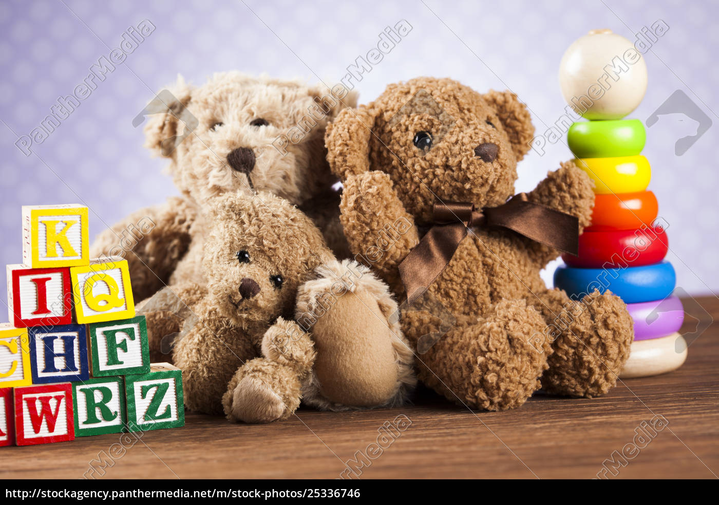 stuffed, baby, toys, on, wooden, background - 25336746