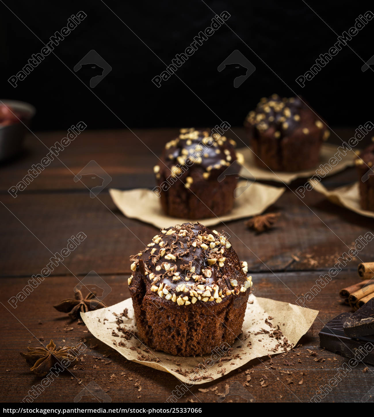 chocolate, muffins, on, a, brown, - 25337066