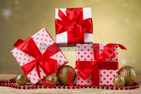 christmas, background, with, decorations, and, gift - 25337486