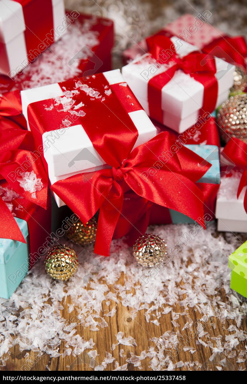 christmas, gift, box, and, balls, on - 25337458