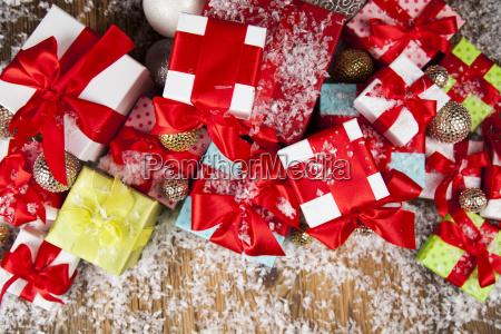 christmas, gift, box, and, balls, on - 25337560