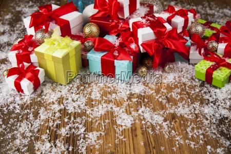 christmas, gift, box, and, balls, on - 25337564
