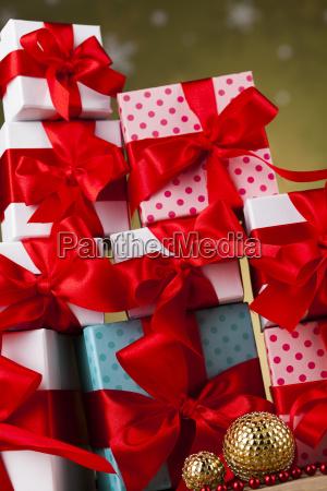 set, of, gift, box, , christmas, background - 25337470