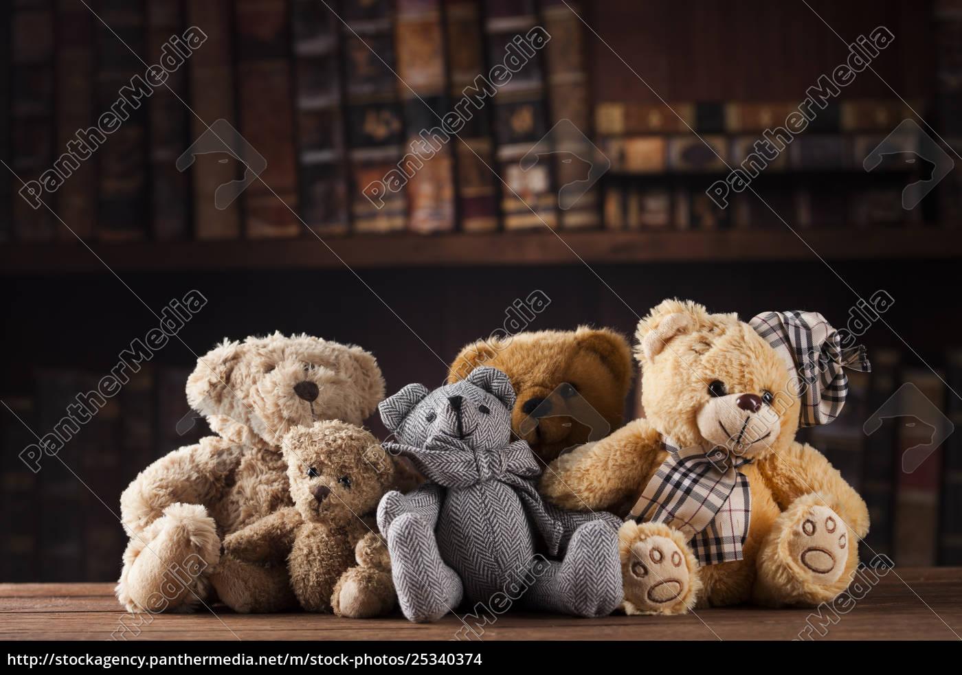 group, of, cute, teddy, bears, on - 25340374