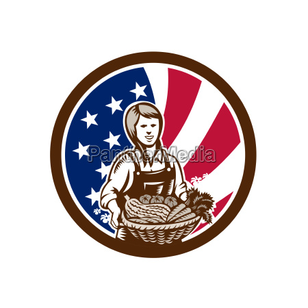 american female organic farmer usa flag