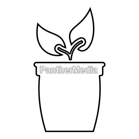 flowerpot or pot with plant icon