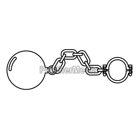 shackles with ball icon black color