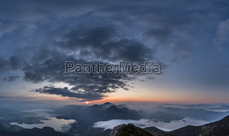 sunrise with kochelsee and walchensee and