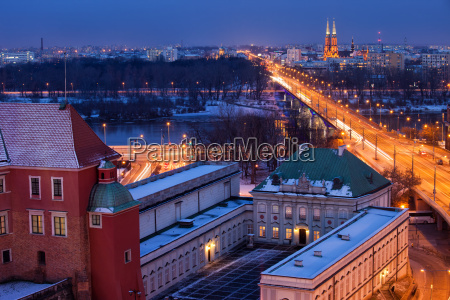 warsaw cityscape by night in poland