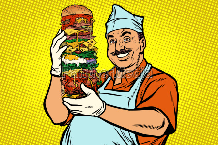 smiling, oriental, street, food, chef., big - 25384804