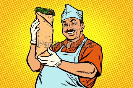 smiling, oriental, street, food, chef., kebab - 25384802