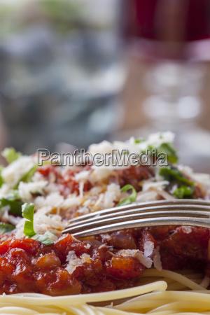 spaghetti with tomato sauce on a