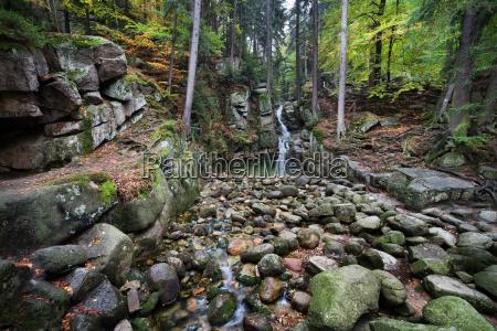 podgorna waterfall in karkonosze mountains in