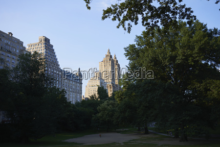 central park at sunset looking towards
