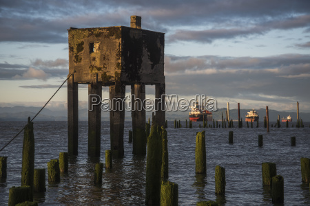 concrete structure and wooden pilings along