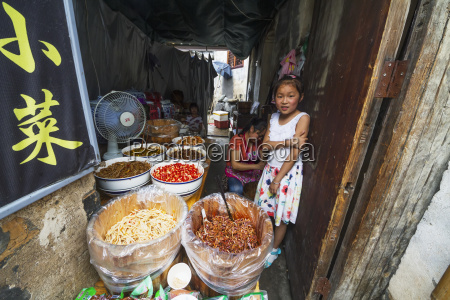 chinese girl in a food shop