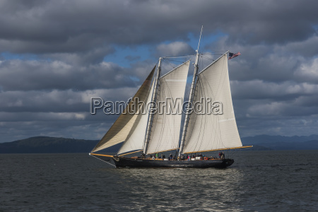 a large sailboat sails down the