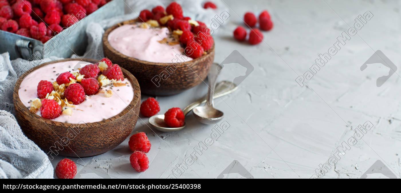 raspberries, smoothie, bowls - 25400398