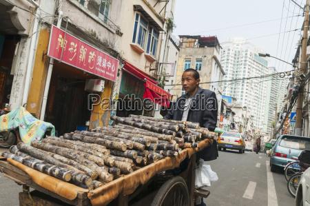 man pushing a cart full of