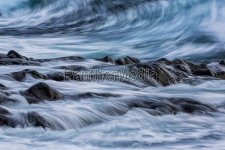 long exposure of waves striking the