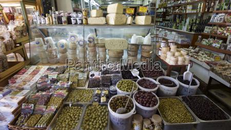 olive stall in local market crete