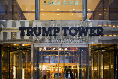 entrance and sign to trump tower