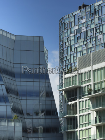 modern residential buildings with window facades