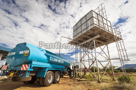 a clean water truck sits below