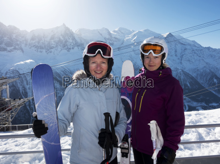 two female skiers posing at brevent