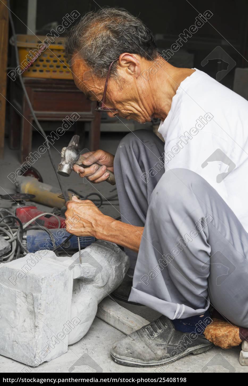 craftsman, carving, a, stone, lion, , xidi, - 25408198