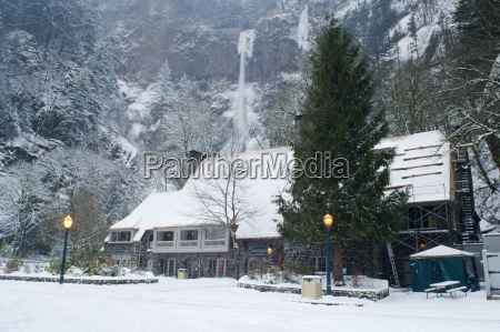 multnomah falls and lodge covered with
