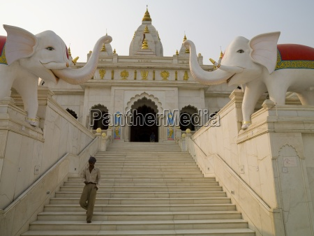 steps with elephant statues leading to