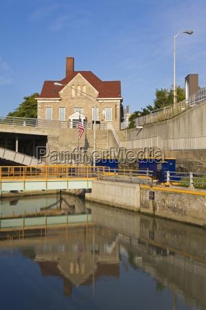 tranquil scene of erie canal locks