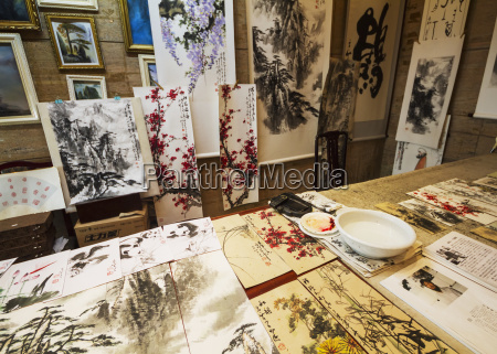traditional watercolour and ink chinese landscape