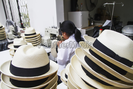 woman, sewing, the, black, brim, on - 25409264